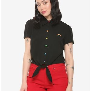 Hot Topic Rainbow Embroidered Crop Top
